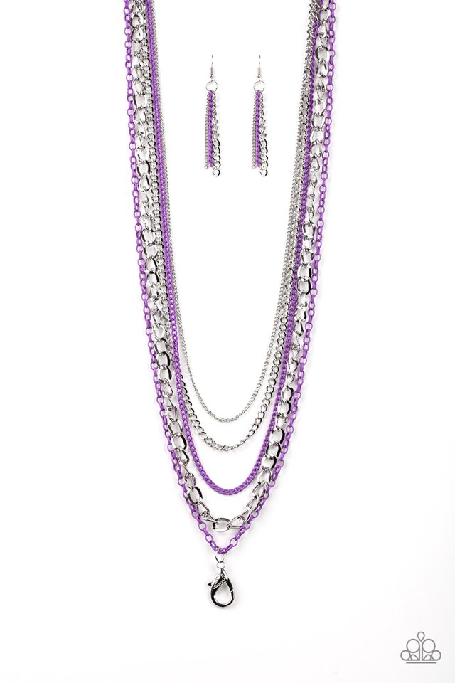 Industrial Vibrance Lanyard Purple Necklace