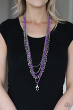 Load image into Gallery viewer, Industrial Vibrance Lanyard Purple Necklace