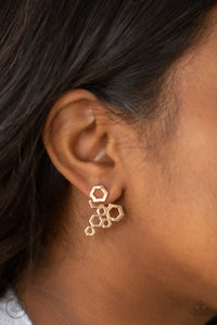 Six-Sided Shimmer Gold Earring