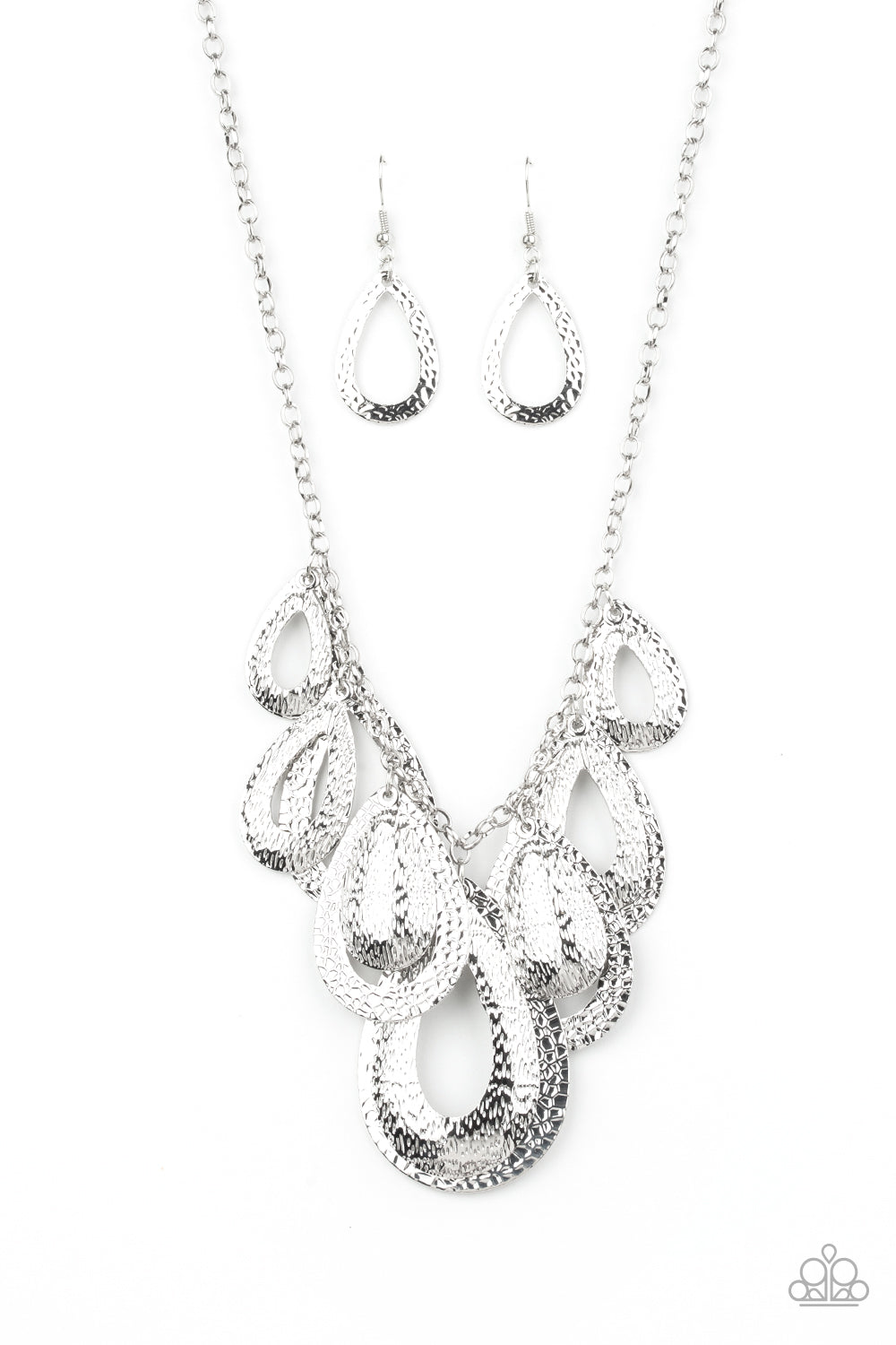 Teardrop Tempest Silver Necklace