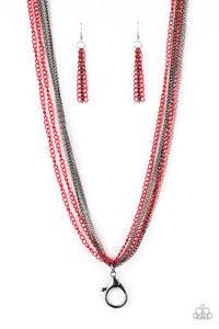Colorful Calamity Red Lanyard