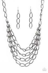 Chain Reaction Black Necklace