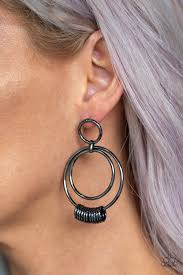 Retro Revolution Black Post Earring