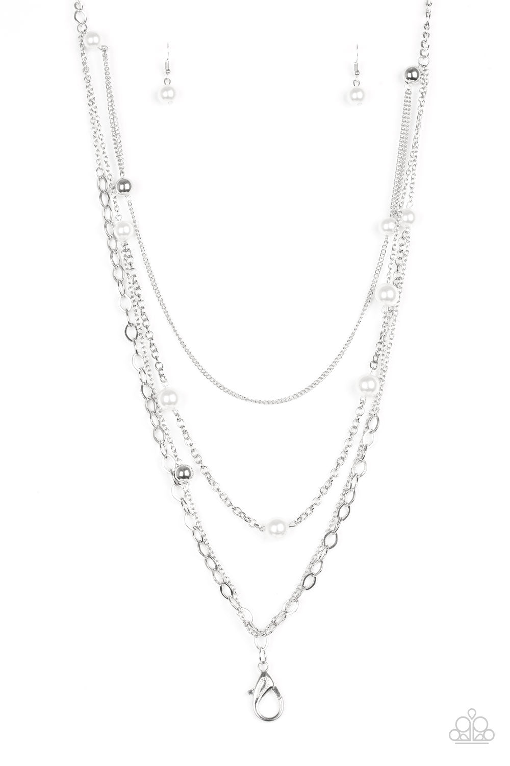 Glamour Grotto Lanyard White Necklace