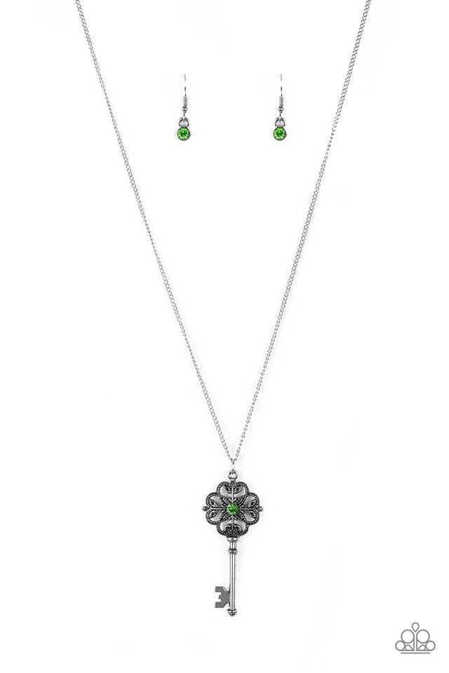 Got It On Lock Green Necklace