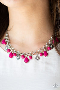 Welcome To The Bedrock Pink Necklace