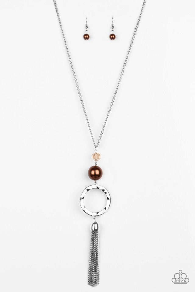 Bold Balancing Act Brown Necklace
