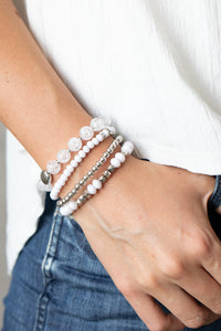 Layered Luster White Bracelet