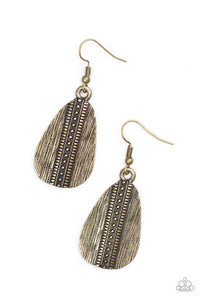 Double The Texture Brass Earring