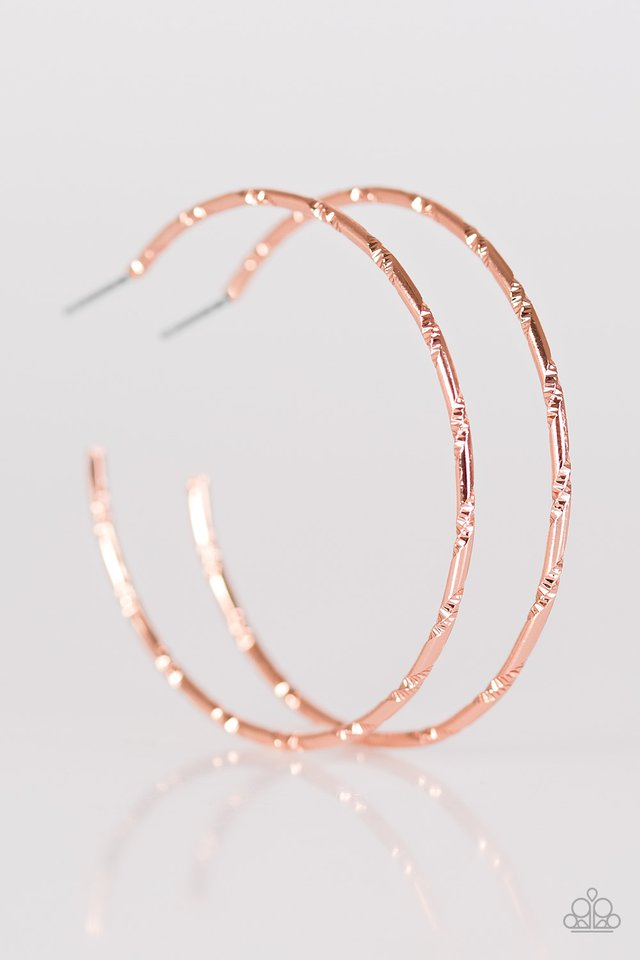 Industrial Edge Hoop Copper Earring