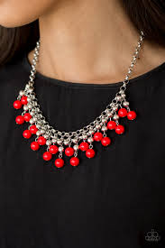 Friday Night Fringe Red Necklace