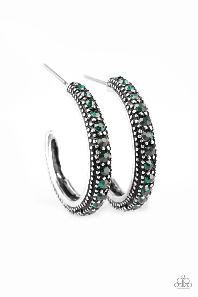 Twinkling Tinseltown Hoop Green Earring
