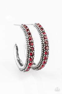 Twinkling Tinseltown Hoop Red Earring