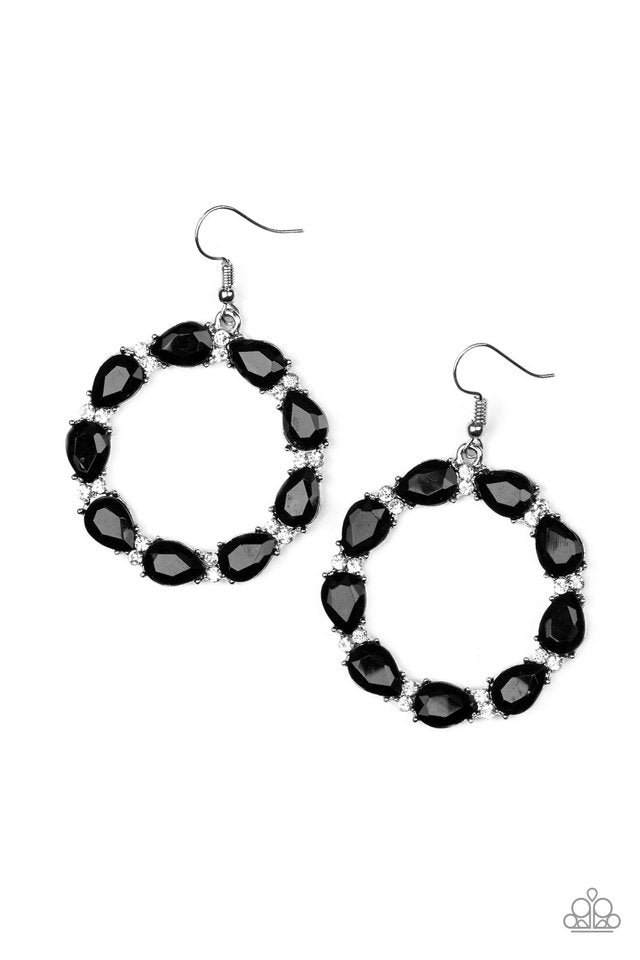 Ring Around The Rhinestones Black Earring