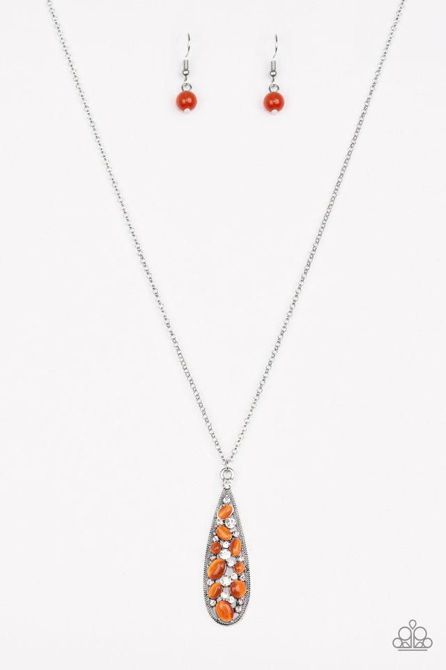Teardrop Treasure Orange Necklace