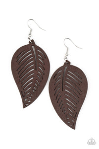 Tropical Foliage Brown Earring