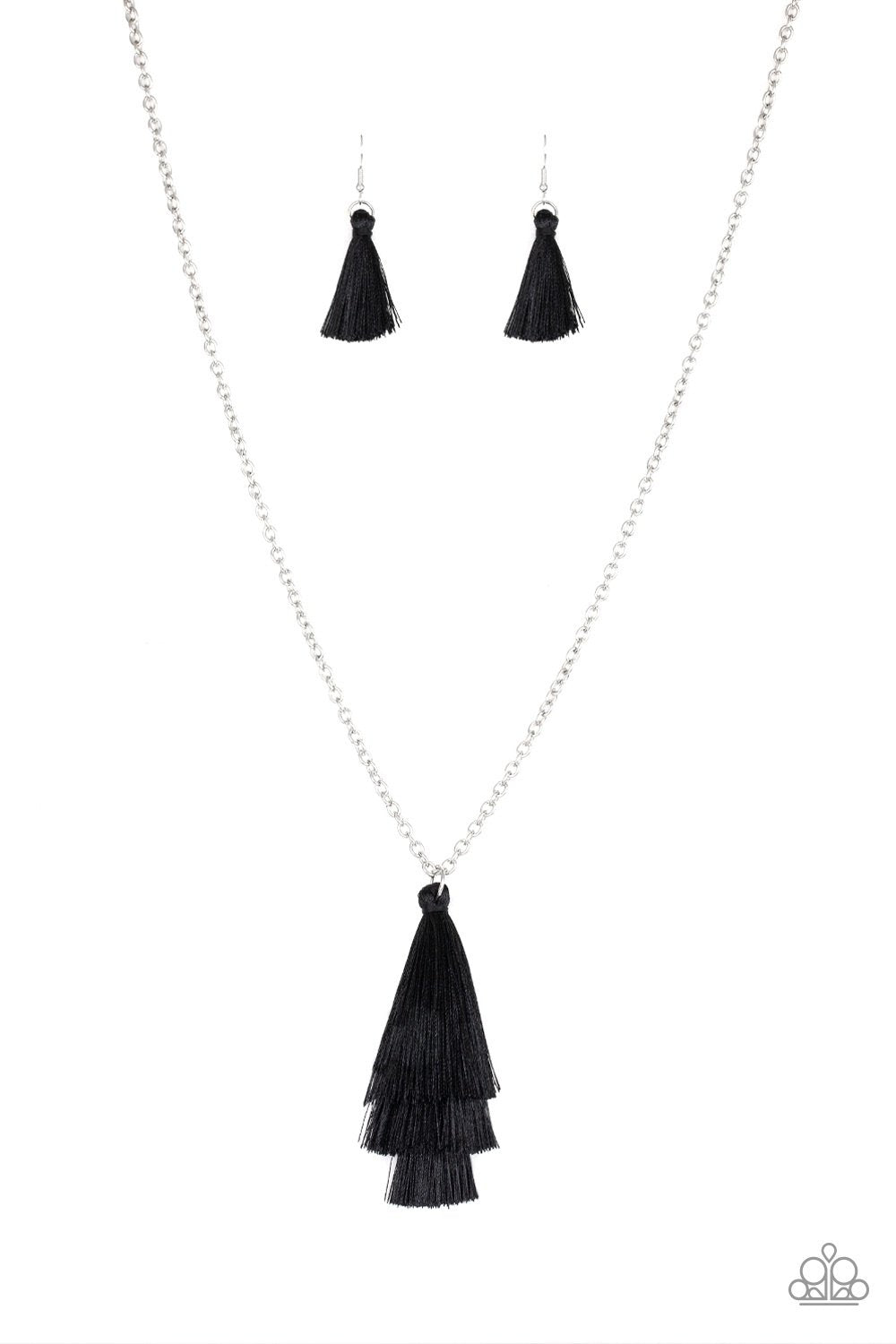 Triple The Tassel Black Necklace
