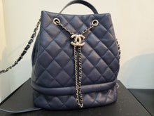 Load image into Gallery viewer, CHANEL Grained Calfskin Quilted Small Chain Bucket Bag Black