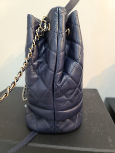 CHANEL Grained Calfskin Quilted Small Chain Bucket Bag Black
