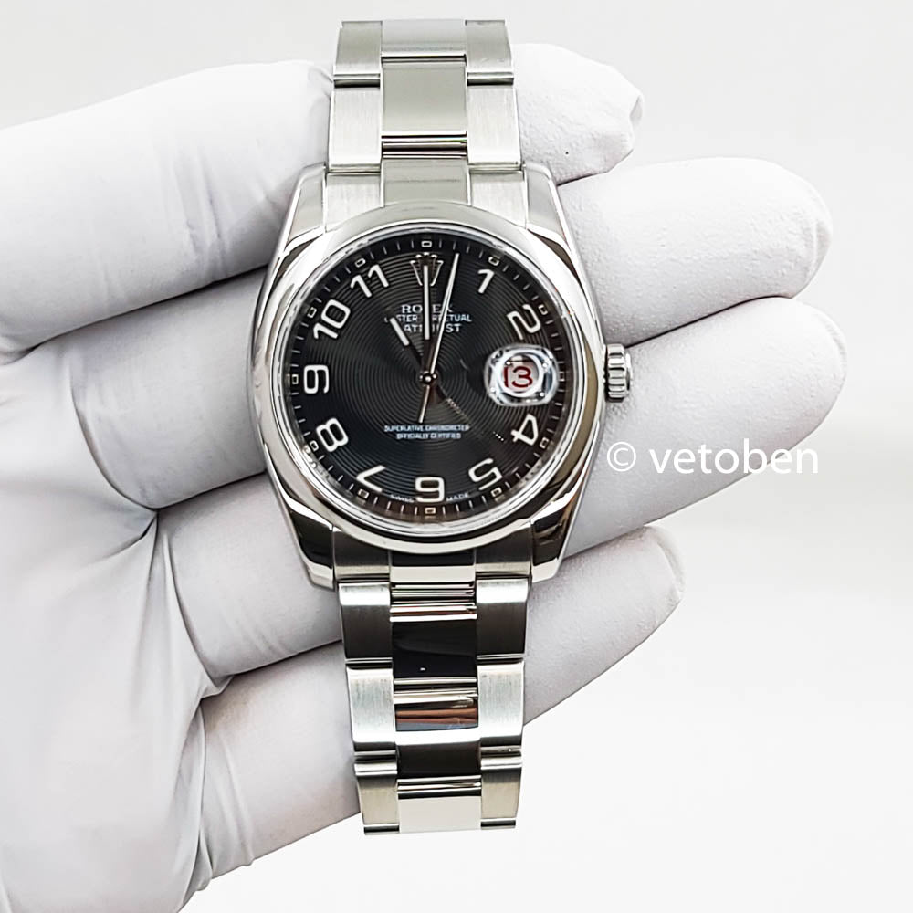 ROLEX DATEJUST 116200 36mm BLACK STICK DIAL