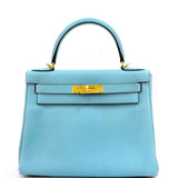 Hermes Kelly Bag 28 Cm Blue Atoll Ghw Gold Sellier Epsom