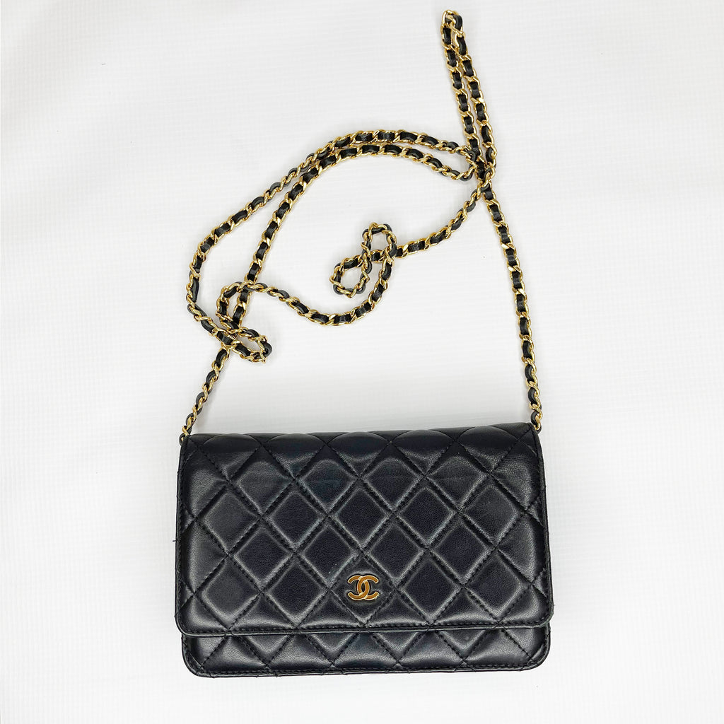 CHANEL Caviar Quilted Wallet On Chain WOC Black