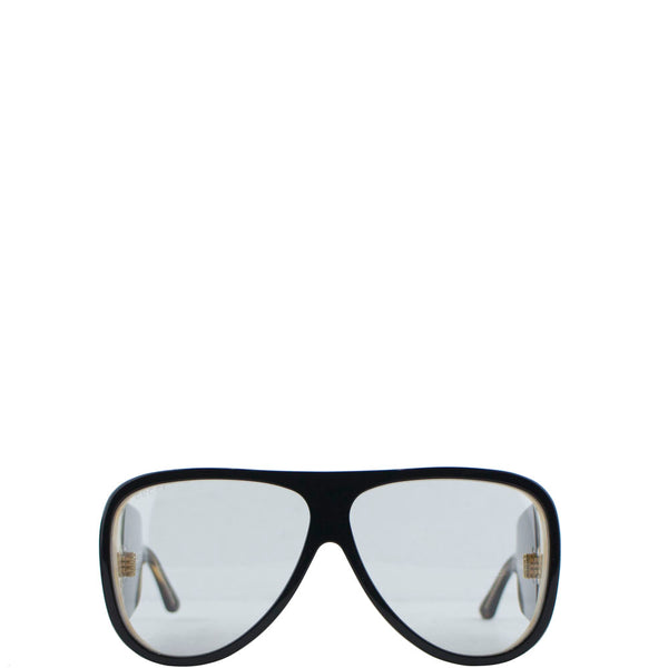 Gucci Oversized Ivory Horn Tortoise Thick Leg Sunglasses