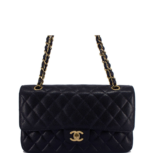 9756aef7e0235d Chanel black quilted caviar leather classic medium double flap bag – Vetoben