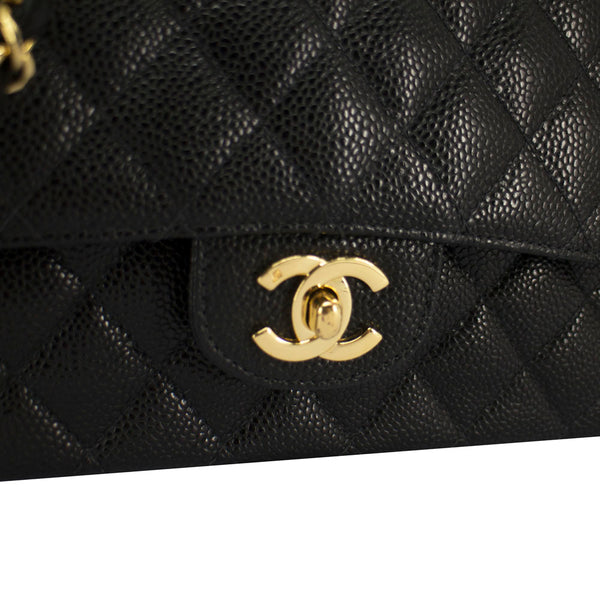 750945f849e6 ... Chanel black quilted caviar leather classic medium double flap bag ...