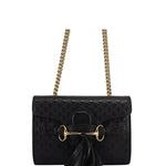 Gucci Black Micro Gg Guccissima Leather Mini Emily Crossbody