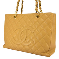 Chanel Gst Grand Shopper Caviar Quilted Tan Leather Tote