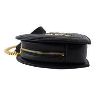 SAINT LAURENT Small Love Heart Chain Bag In Black Matelassé Leather
