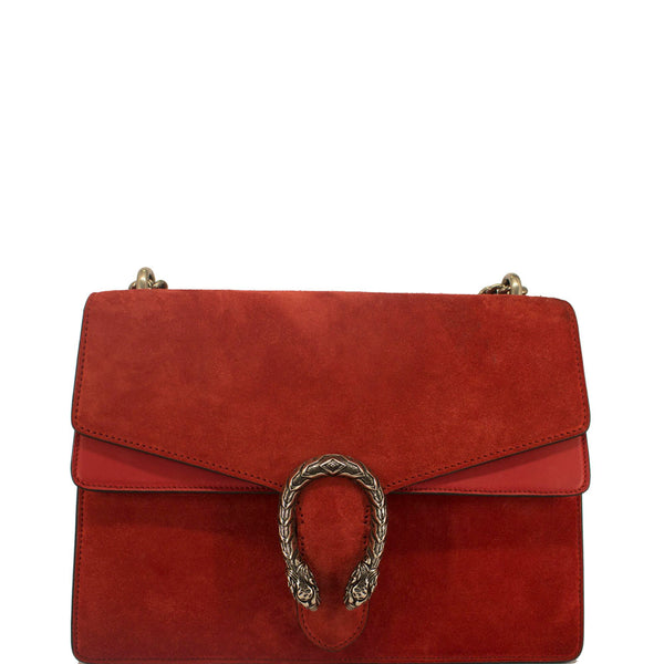 GUCCI Suede Medium Dionysus Shoulder Bag Red