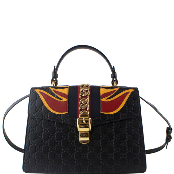 GUCCI Guccissima Medium Sylvie Signature Bag Black