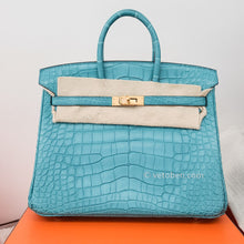 Load image into Gallery viewer, Hermes Birkin 25 Blue Saint Cyr Matte Alligator Gold Palladium Hardware