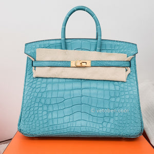 Hermes Birkin 25 Blue Saint Cyr Matte Alligator Gold Palladium Hardware