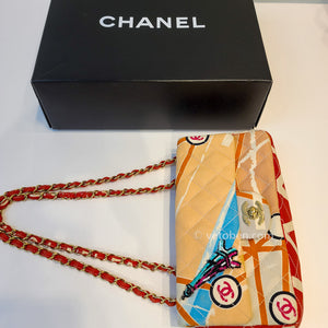 CHANEL Eiffel Tower Printed Quilted Canvas Small Flap Bag