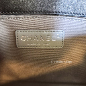 "CHANEL<br data-mce-fragment=""1"">Lambskin Quilted Medium Boy Flap Black"
