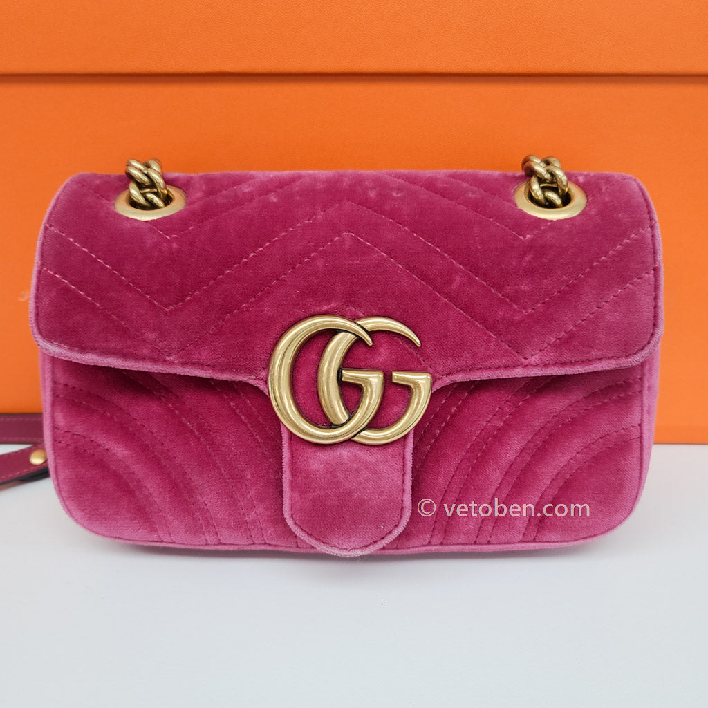 GG Marmont Small Quilted Velvet Cross-Body Bag