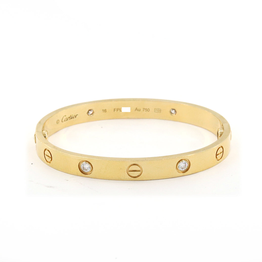 Cartier Love bracelet, 18K yelow gold with 4 diamonds 19CM