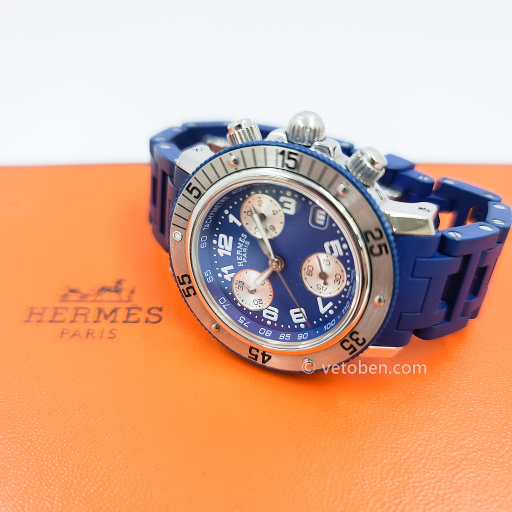 Authentic Hermes Clipper Diver Chronograph Watch