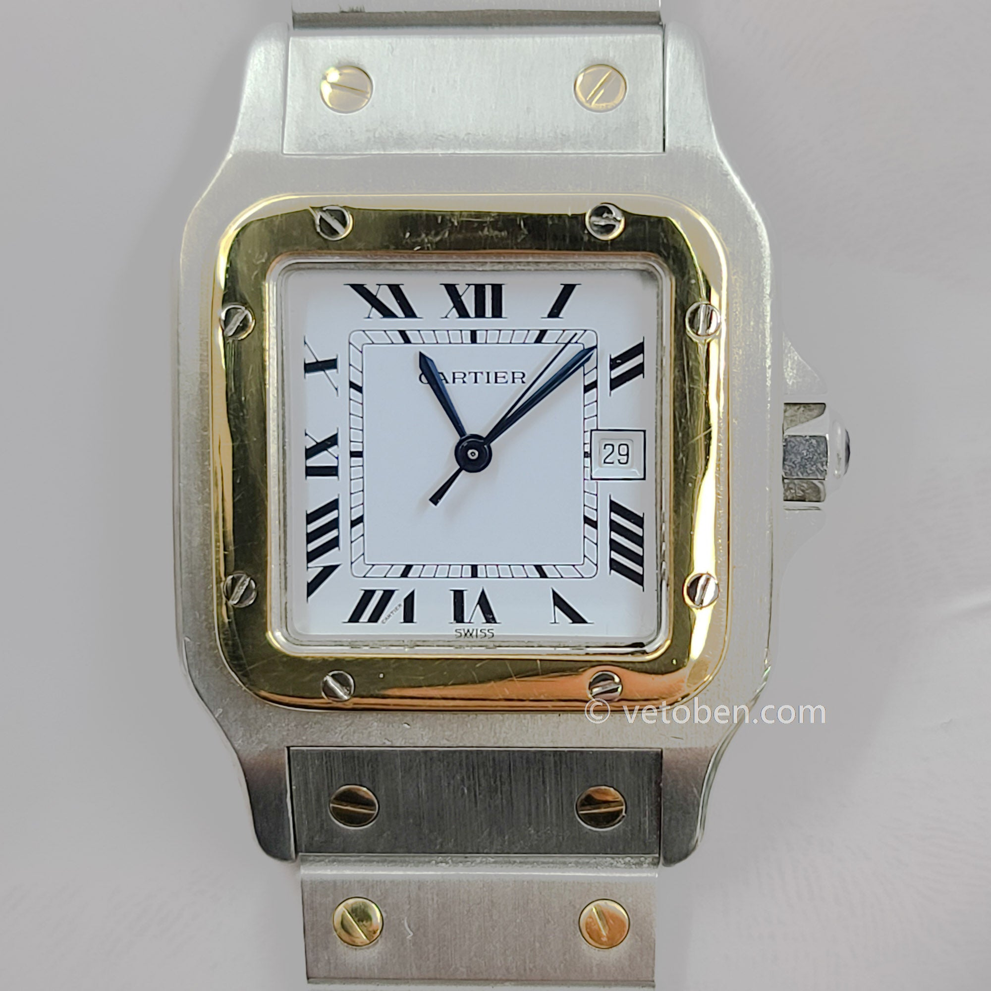 Authentic Cartier Santos Galbee Automatic Two Tone 18k Gold Stainless Steel