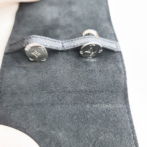 Auth LOUIS VUITTON Black sterling silver Champs Elysees Cufflinks