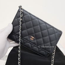Load image into Gallery viewer, Chanel wallet on chain black caviar silver hardware