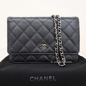 Chanel wallet on chain black caviar silver hardware