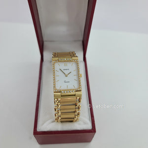 14k yellow gold square and white dial watch