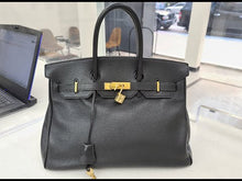 Load and play video in Gallery viewer, Hermes Birkin 35 Black & Gold hardware