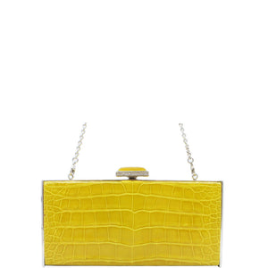 Judith Leiber Yellow East-West Rectangle Clutch Bag, Sapphire