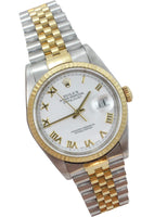 Rolex White Two-tone 18k/Ss Datejust Roman 16013 Watch