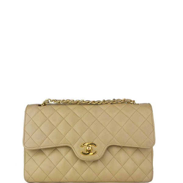 Chanel Flap Quilted Classic Double Chain Beige Lambskin Leather Shoulder Bag